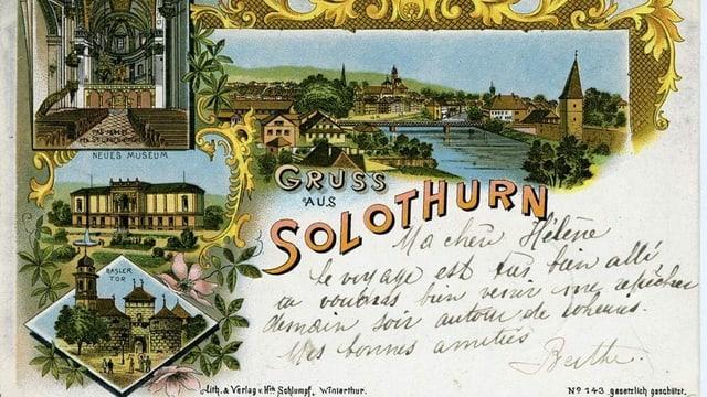 Farbige Postkarte mit gezeichneten Bildern aus der Stadt Solothurn
