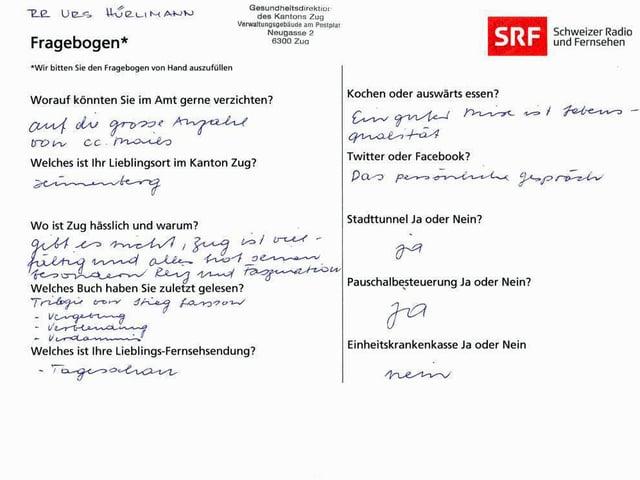 Der von Urs Hürlimann ausgefüllte Fragebogen.