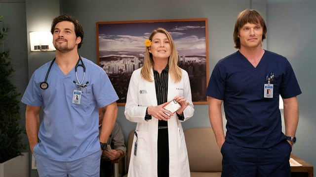 Dr. Andrew DeLuca, Dr. Meredith Grey und Dr. Atticus Lincoln