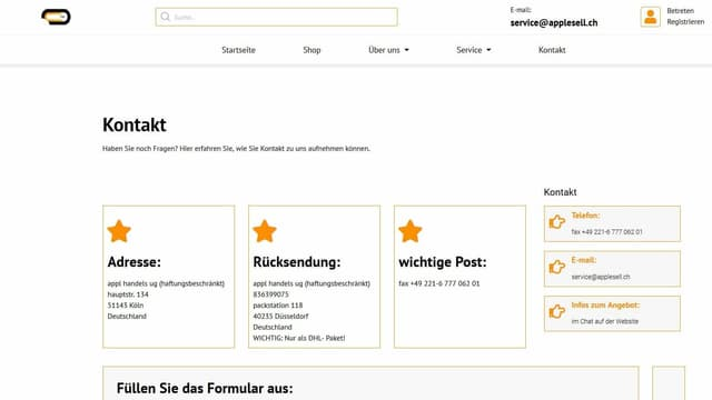 Webseite Screenshot applesell.ch
