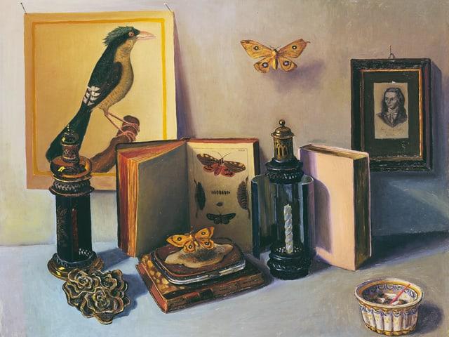 Ein Stillleben mit Schmetterlingen, Büchern und Vogelplakat.