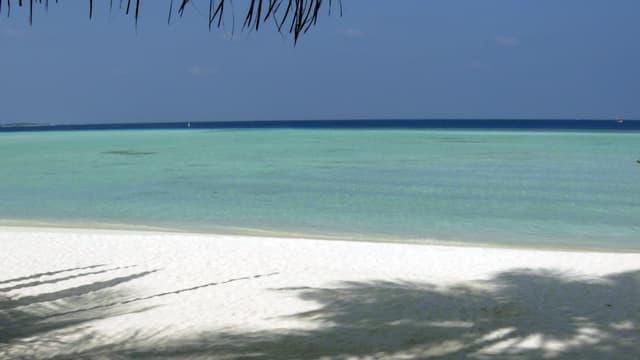 Eine Aufnahme eines weissen Sandstrandes mit Blick auf das türkisfarbene Meer.