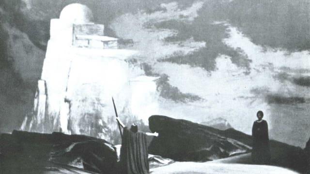 Monumentale Landschaft mit Nebel und Wolken, der Sänger mit wallendem Mantel.