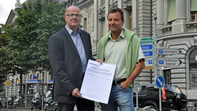 Daniel Schneeberger und Jürg Kappeler von der GLP Graubünden.