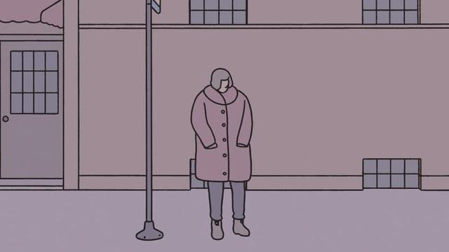 Comic: Frau wartet bei Nacht an einer Bushaltestelle