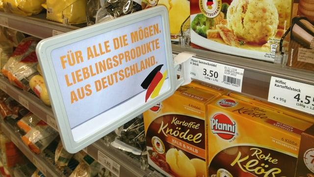 Die Migros wirbt am Knödel-Regal mit «Lieblingsprodukten aus Deutschland»