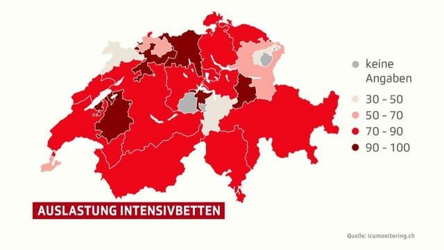 Auslastung der Intensivbetten auf Schweizer Karte