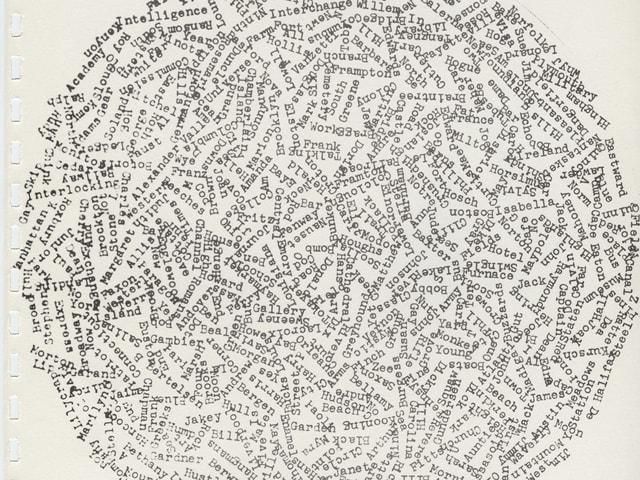 Kunstwerk aus Wörtern von Carl Andre.