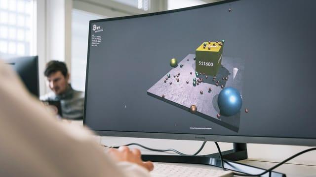 monitur d'in computer cun ina visualisaziun en trais dimensiuns