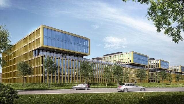 Visualisierung des Neubaus, den die Biogen in Baar beziehen wird.