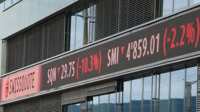 Börsenanzeige an einem Gebäude.