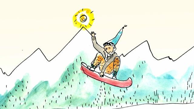 Schellen-Ursli auf dem Snowboard.