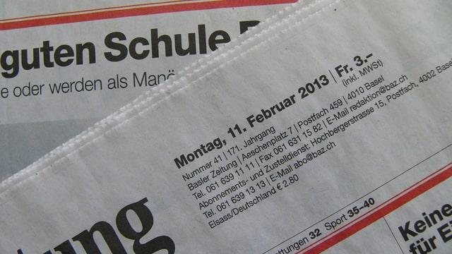 Front der Basler Zeitung vom Montag 11.2.