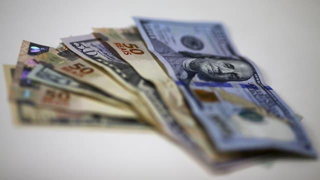 Real- und Dollar-Banknoten