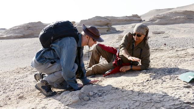 Xiaolin Wang und Alexander Kellner an der Ausgrabungsstelle.