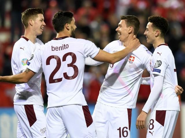 Die Schweizer Nationalspieler, hier nach der Qualifikation für die EM 2020.