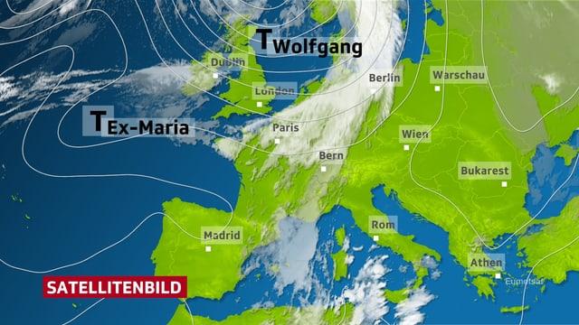 Eine Europakarte mit Maria.