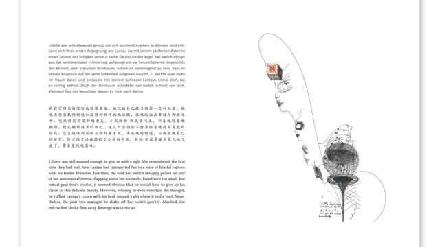 eine Buchseite, geschrieben auf Deutsch, Englisch und Chinesisch