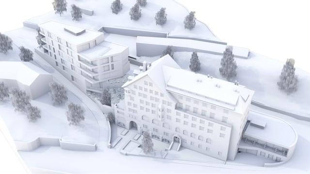 Il nov Hotel La Margna: dretg il bajetg dal 1906, sanester il modern edifizi annex.