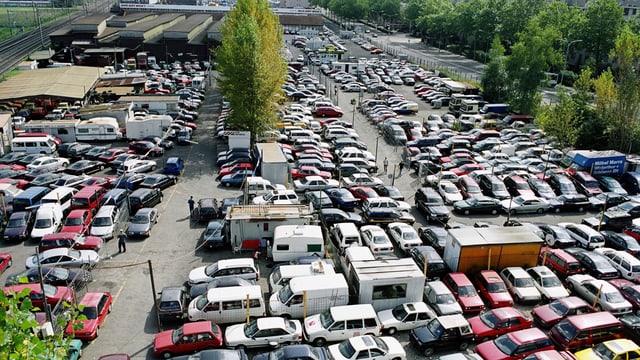 Blick über einen riesigen Parkplatz voller Occasionsautos und am Rand ein paar Fabrikhallen