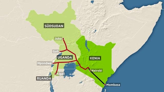 Effektiv gebaute und geplante Strecke der chinesischen Eisenbahn durch Ostafrika