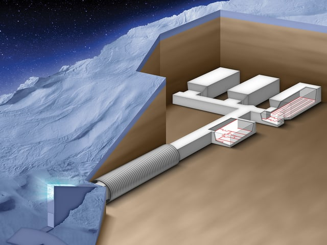 Nach 120 Metern im gut belüfteten Stollen, tief im Berg, befindet sich das Herz des Saatguttresors: drei Lagerräume, je ungefähr 300 Quadratmeter gross.