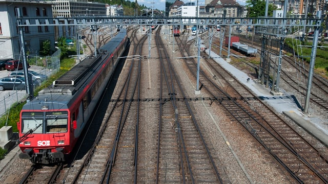 Ein Zug der Südostbahn im Bahnhof St. Gallen