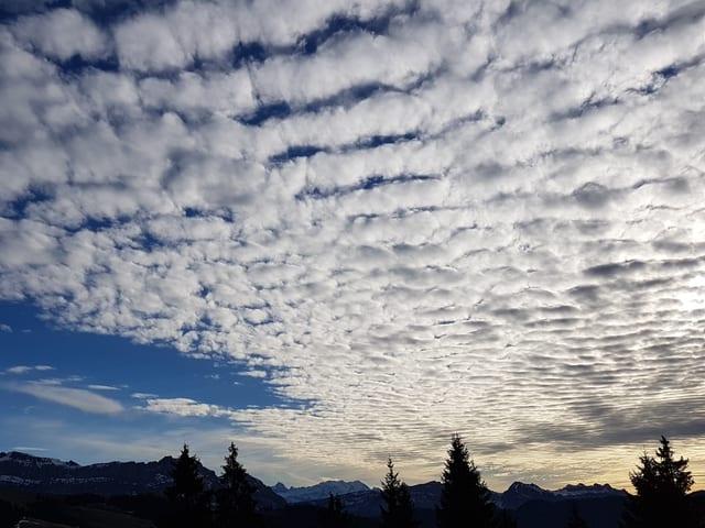 Dünne Wolken verzieren den Himmel.