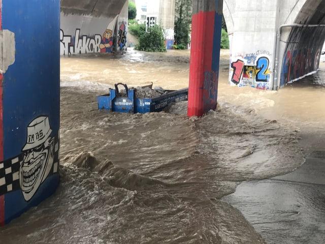 Hochwasser unter Brücke