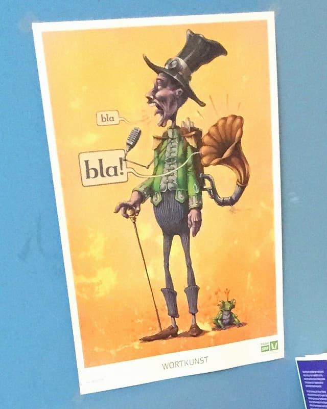 Poster mit Cartoon eines Manns mit Hut, daneben ein Froschkönig