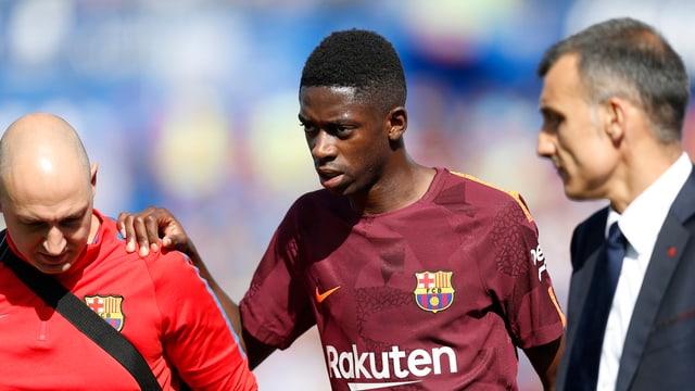 Ousmane Dembélé verlässt verletzt das Feld.