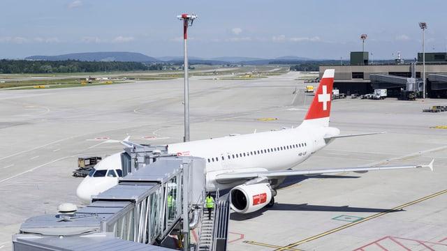 Ein Flugzeug der Swiss auf dem Flughafen Kloten.