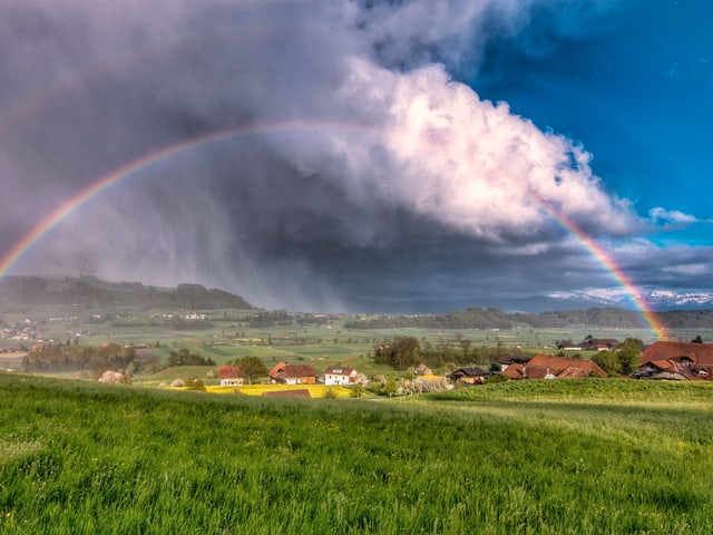Regenbogen auf grüner Wiese. Links starker Regen, rechts blauer Himmel.