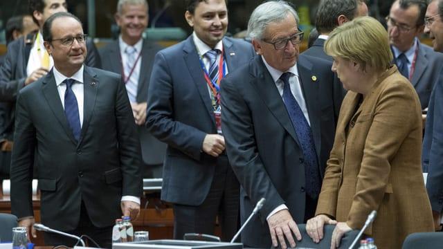 Von links nach rechts: François Hollande, Jean-Claude Juncker, Angela Merkel.