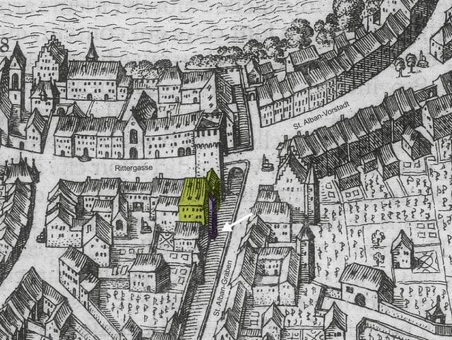 Mittelalterlicher Stadtplan mit Fundort des Berberaffen
