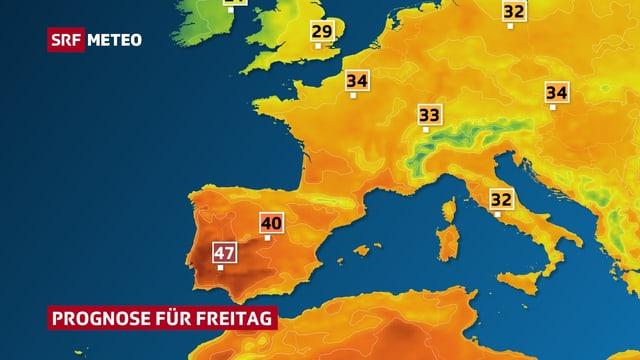 Europakarte, mit Temperatur eingefärbt.