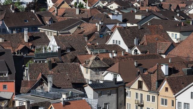 Churer Altstadt: Blick über die Dächer.