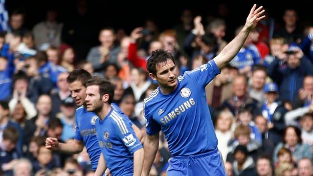 Chelseas Lampard triftt gegen Swansea  - nun fehlt ihm noch ein Tor zum Klub-Rekord.