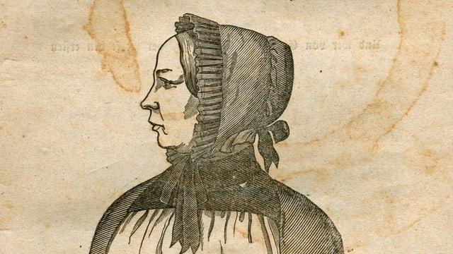 Plakat mit Zeichnung von Frau und Aufschrift «Anna Maria Flückiger»