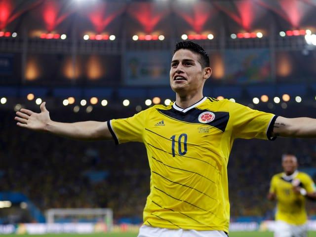 James Rodriguez bejubelt einen seiner Treffer mit ausgebreiteten Armen