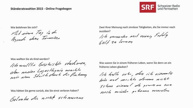Ruedi Nosers handschriftlicher Fragebogen.