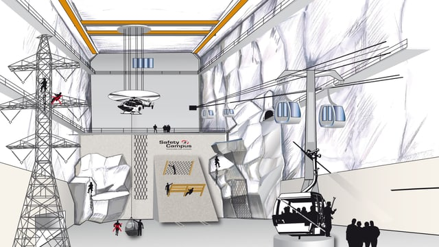Ein unterirdischer Schulungsraum mit Strommasten und Felswänden.