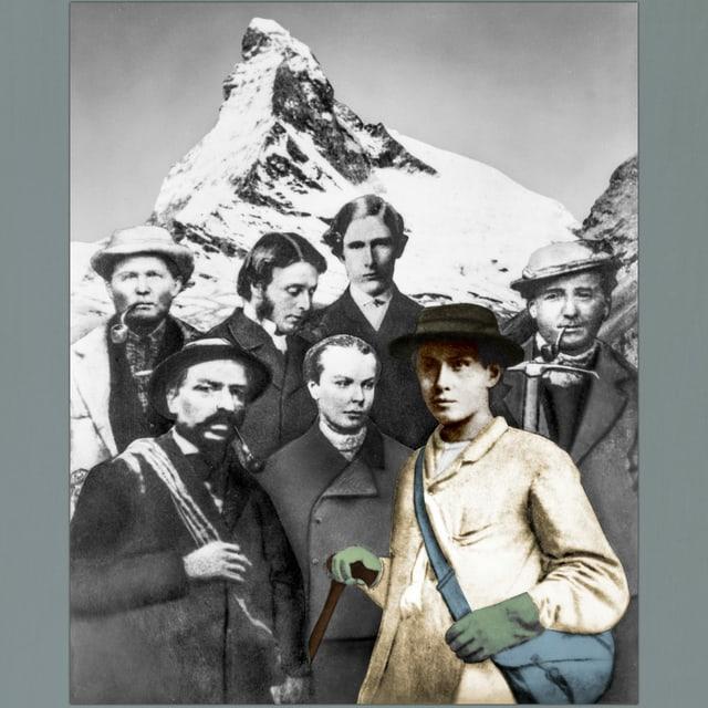 Eine schwarz-weisse Bildmontage mit den 7 Erstbesteigern des Matterhorns und der Berg im Hintergrund
