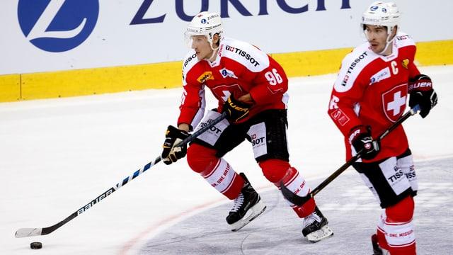 Damien Brunner (links) und Raphael Diaz im Dress der Hockey-Nati