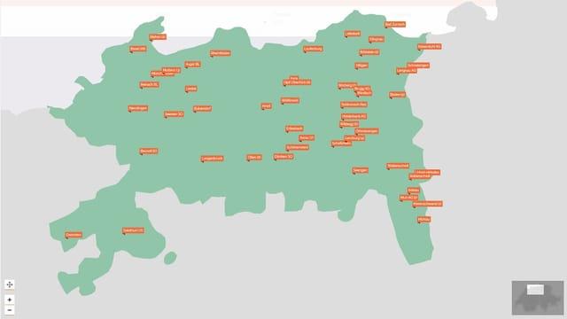 Karte mit orangen Punkten.
