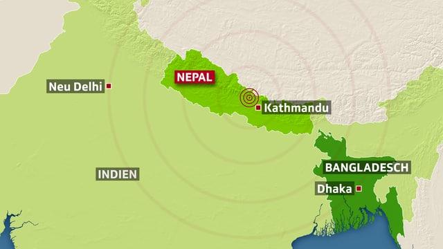 Karte zeigt das Erdbebengebiet.
