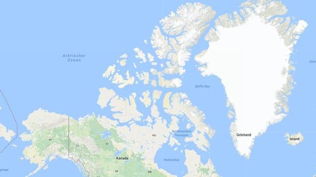 Carta da la mar arctica davant Canada.