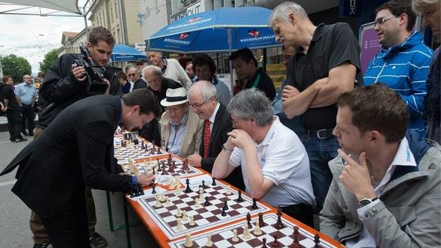 Schachspieler in der Bieler Altstadt