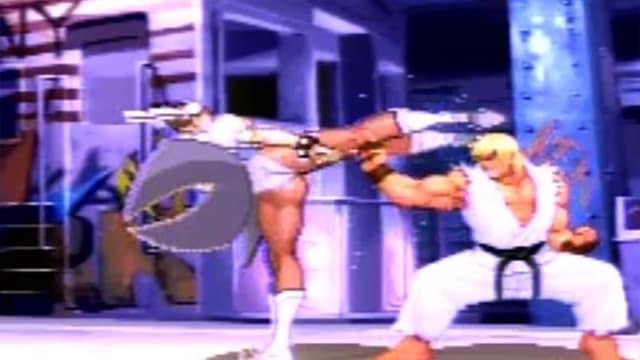 Ken blockt noch mehr Tritte von Chun-Li.