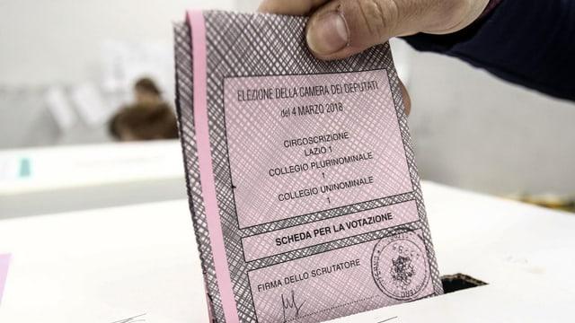 Hand wirf einen ros Wahlzettel in eine Urne.